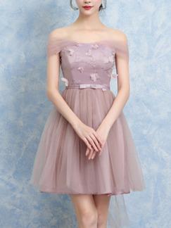 Pink Fit Amp Flare Above Knee Off Shoulder Dress For Prom