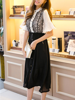 Black and White Fit & Flare Midi Plus Size Lace Dress for Casual Office Evening