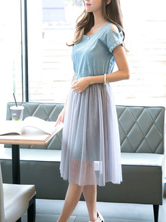 Blue Fit & Flare Knee Length Plus Size Dress for Casual Evening Party