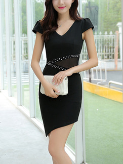 Black Bodycon Above Knee V Neck Dress for Party Evening Cocktail