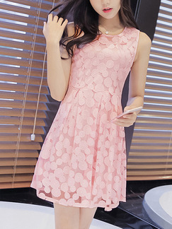 Pink Polkadot Fit & Flare Above Knee Plus Size Cute Dress for Casual Party Evening