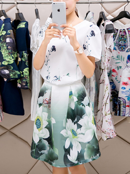 White Green Colorful Fit & Flare Above Knee Plus Size Floral Dress for Casual Party Evening