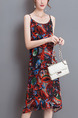 Red Colorful Shift Slip Knee Length Plus Size Dress for Casual Beach Party