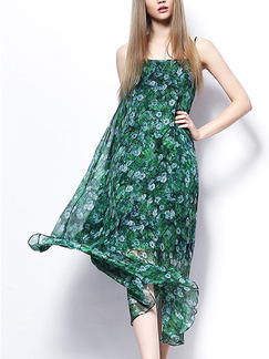 Green and Blue Slip Midi Floral Dress for Casual Beach
