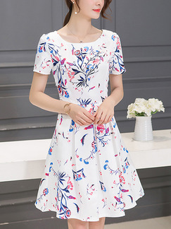 White Colorful Fit & Flare Above Knee Plus Size Dress for Casual Party Evening
