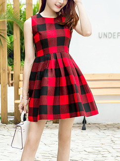 Red and Black Fit & Flare Above Knee Plus Size Dress for Casual Party Evening