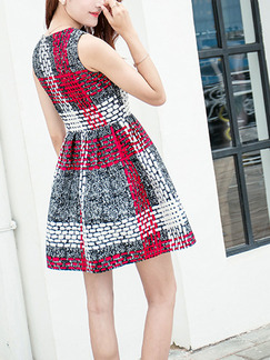Black White and Red Fit & Flare Above Knee Plus Size Dress for Casual Party Evening