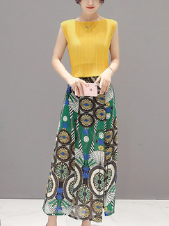 Yellow Colorful Maxi Plus Size Dress for Casual Party Evening