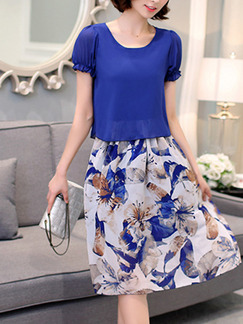 Blue and White Fit & Flare Plus Size Knee Length Dress for Casual Party Evening