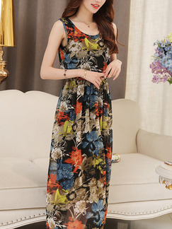 Colorful Maxi Plus Size Dress for Casual Party
