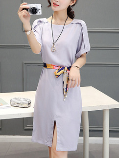 Grey Shift Knee Length Plus Size Dress for Casual Office Evening