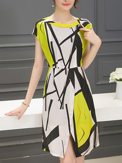 Black and White Yellow Fit & Flare Plus Size Above Knee Dress for Casual Evening Office