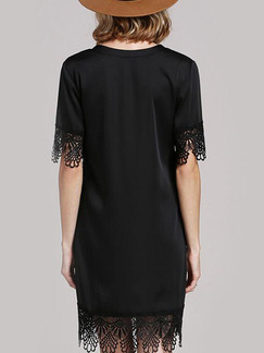 Black Shift V Neck Above Knee Plus Size Lace Dress for Party Evening Cocktail