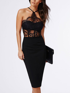 Black Bodycon Knee Length Halter Lace Dress for Party Evening Cocktail