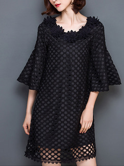 Black Shift Above Knee Plus Size Floral Dress for Casual Party