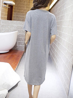 Grey Shift Knee Length T-Shirt Dress for Casual