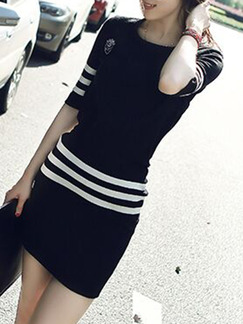 Black and White Bodycon Above Knee Plus Size Dress for Casual Party