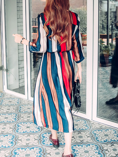 Colorful Maxi Plus Size Long Sleeve Dress for Casual Evening Office