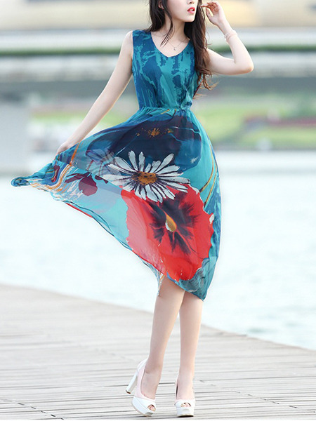Blue Colorful Midi V Neck Plus Size Floral Dress for Casual Beach