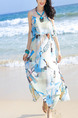White and Blue Maxi Plus Size Slip Dress for Casual Beach