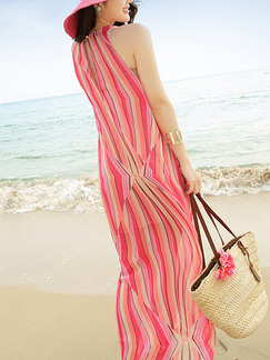 Pink Colorful Maxi Halter Dress for Casual Beach