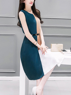 Brown Blue and White Shift Knee Length Plus Size Dress for Casual Office Evening