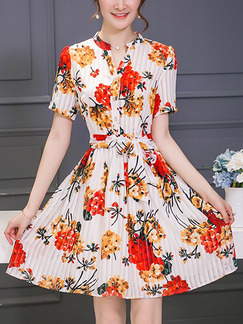 White and Red Fit & Flare Above Knee Plus Size Floral Dress for Casual Evening Party