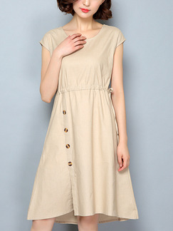Beige Shift Knee Length Plus Size Dress for Casual