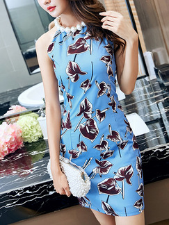Blue and Brown Sheath Above Knee Halter Dress for Casual Evening Party
