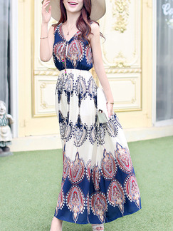 Blue and Beige Maxi V Neck Plus Size Dress for Casual Beach