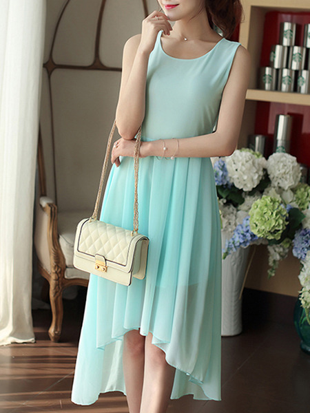 Blue Green Midi Plus Size Dress for Casual Evening Party
