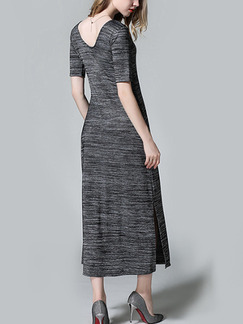 Grey Shift Midi Dress for Casual Party Evening