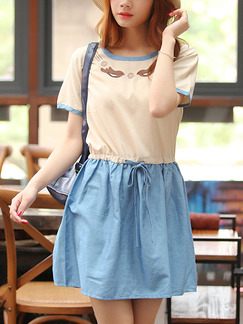 Beige and Blue Fit & Flare Above Knee Plus Size Denim Dress for Casual Party