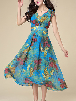 Blue Colorful Fit & Flare Midi Plus Size V Neck Dress for Casual Party