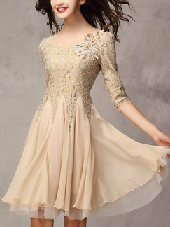 Nude Fit & Flare Above Knee Plus Size Lace Dress for Casual Party Evening