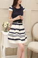 Black and White Fit & Flare Above Knee Plus Size Dress for Casual Office Party Evening