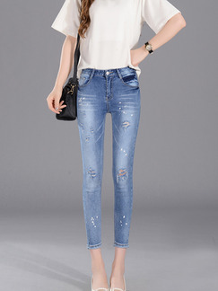 Blue Three Quarter Denim Pants for Casual
