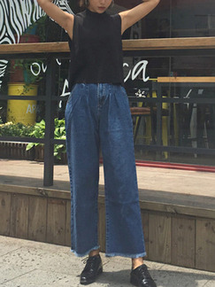 Dark Blue Long Denim Pants for Casual