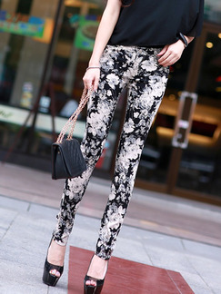 Black Colorful Long Printed Pants for Casual