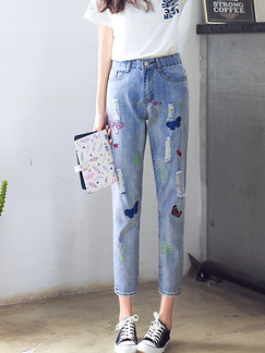 Blue Three Quarter Denim Printed Pants for Casual