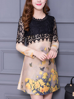 Beige Black and Yellow Shift Above Knee Plus Size Floral Lace Long Sleeve Dress for Casual Office Evening
