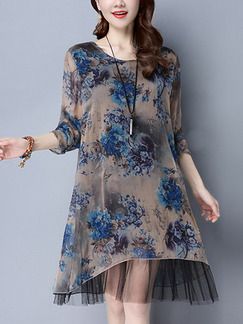 Brown Blue Shift Knee Length Plus Size Dress for Casual Party Evening