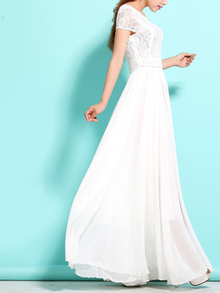 White Maxi Plus Size Lace Dress for Evening Cocktail Prom Ball