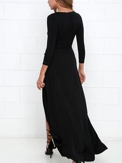Black Maxi V Neck Plus Size Dress for Party Evening Cocktail Prom