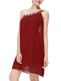 Red Shift Above Knee Plus Size One Shoulder Dress for Party Evening Cocktail
