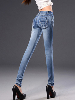 Blue Long Denim Pants for Casual