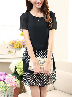 Black and White Polka Dot Shift Above Knee Plus Size Dress for Casual Office Party