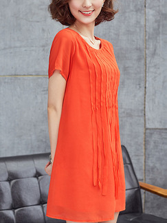 Orange Shift Above Knee Plus Size Dress for Casual Party Evening