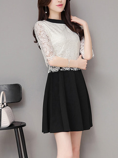 Black and White Fit & Flare Above Knee Plus Size Lace Dress for Casual Office Evening
