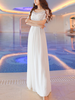 White Maxi Plus Size Dress for Beach Bridesmaid Ball